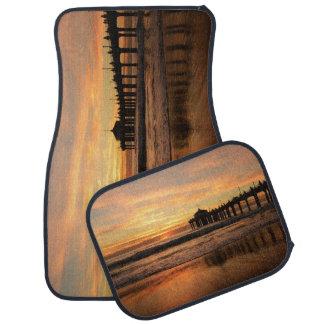 Pier beach sunset car mat