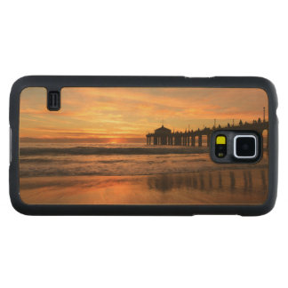 Pier beach sunset carved maple galaxy s5 case