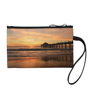 Pier beach sunset coin purse