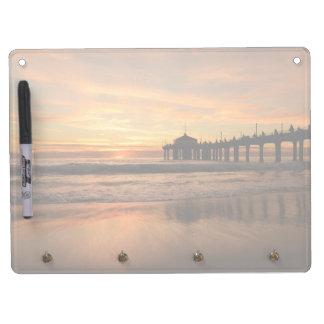 Pier beach sunset dry erase board with keychain holder