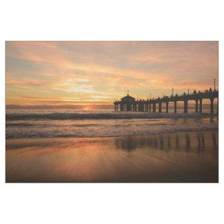 Pier beach sunset fabric