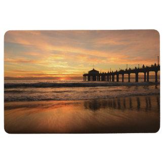 Pier beach sunset floor mat
