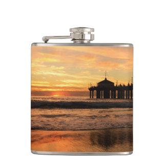 Pier beach sunset hip flask