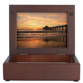 Pier beach sunset keepsake box