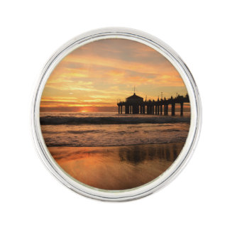 Pier beach sunset lapel pin