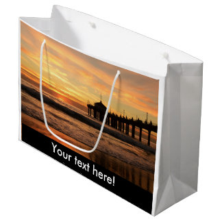 Pier beach sunset large gift bag