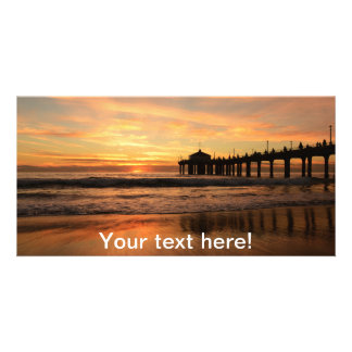 Pier beach sunset personalized photo card