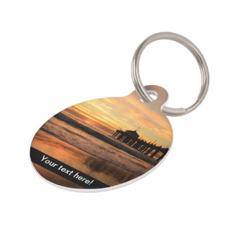 Pier beach sunset pet ID tag