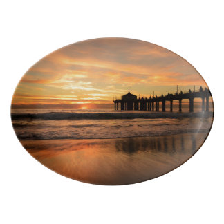 Pier beach sunset porcelain serving platter