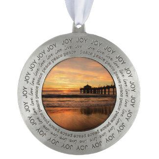 Pier beach sunset round pewter ornament