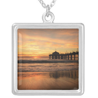 Pier beach sunset silver plated necklace