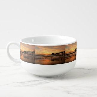 Pier beach sunset soup mug