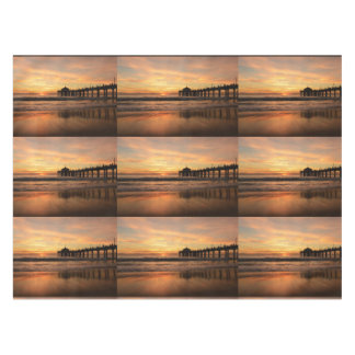 Pier beach sunset tablecloth