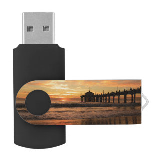 Pier beach sunset USB flash drive