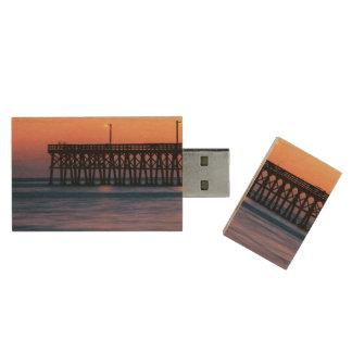 Pier beach sunset wood USB 2.0 flash drive