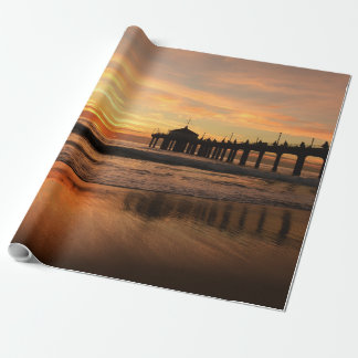 Pier beach sunset wrapping paper