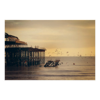 Pier Dock Dusk Orange Light Birds Poster