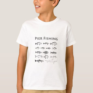 Pier Fishing Fish Species Line Art Logo T-Shirt