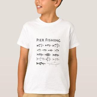 Pier Fishing Fish Species Line Art Logo T-Shirt