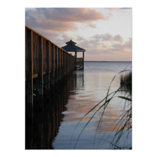 Pier & Gazebo at Sunset, Outer Banks NC Poster