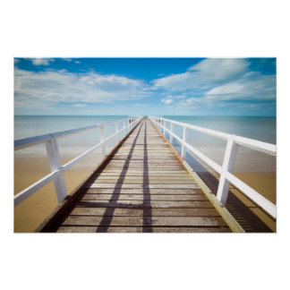 Pier on Colorful Beach Poster