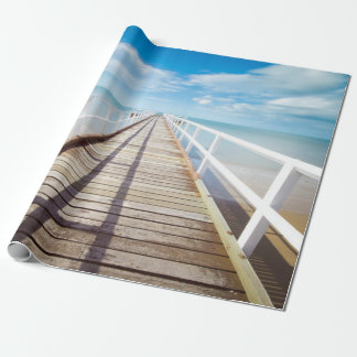 Pier on Colorful Beach Wrapping Paper