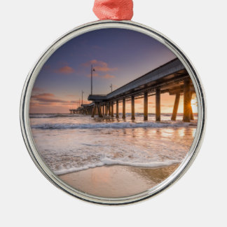 Pier on the Beach Silver-Colored Round Ornament