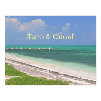 """PIER OVER AQUAMARINE WATER/ TURKS & CAICOS"" POSTCARD"