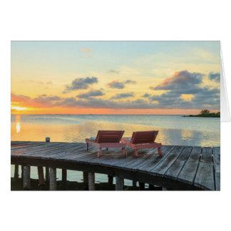 Pier overlooks the ocean, Belize Card
