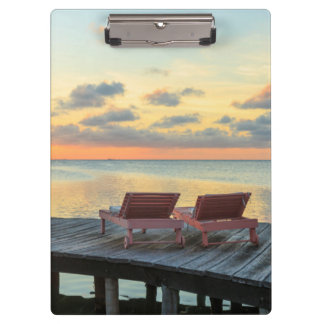 Pier overlooks the ocean, Belize Clipboard