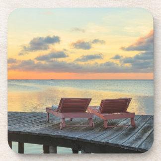 Pier overlooks the ocean, Belize Drink Coaster
