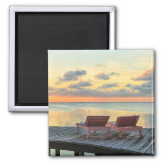 Pier overlooks the ocean, Belize Magnet