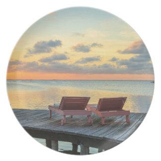 Pier overlooks the ocean, Belize Party Plates