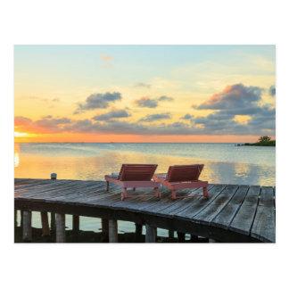 Pier overlooks the ocean, Belize Postcard