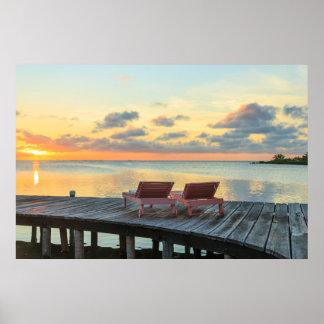 Pier overlooks the ocean, Belize Poster