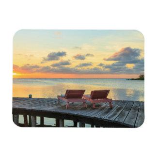 Pier overlooks the ocean, Belize Rectangular Photo Magnet