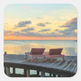 Pier overlooks the ocean, Belize Square Sticker
