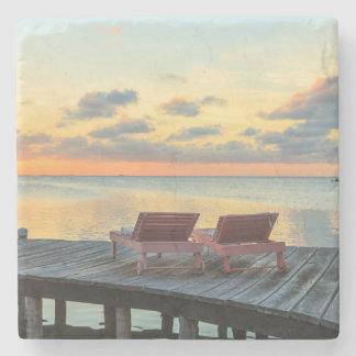 Pier overlooks the ocean, Belize Stone Beverage Coaster
