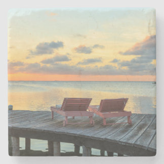 Pier overlooks the ocean, Belize Stone Coaster