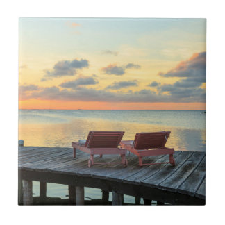 Pier overlooks the ocean, Belize Tile