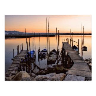Pier stilt on the river postcard