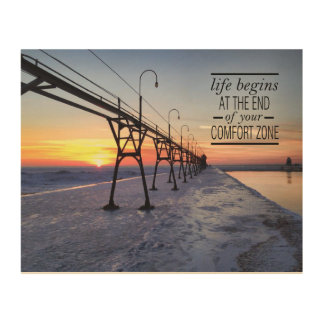 Pier sunset quote wood print