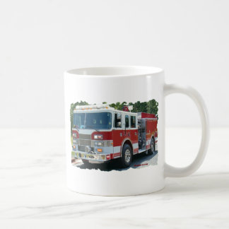 Pierce fire truck coffee mug
