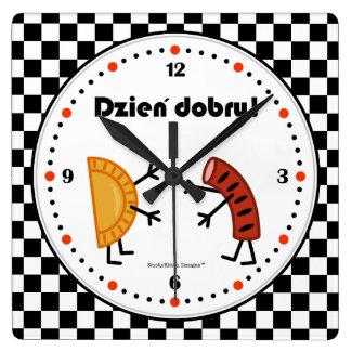 Pierogi and Kielbasa Dzien Dobry - Friendly Foods Square Wall Clock