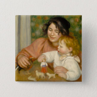 Pierre A Renoir   Child with Toys 2 Inch Square Button