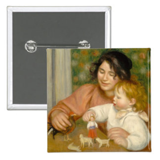 Pierre A Renoir | Child with Toys 2 Inch Square Button
