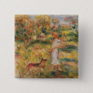 Pierre A Renoir | Landscape with the artist's wife 2 Inch Square Button