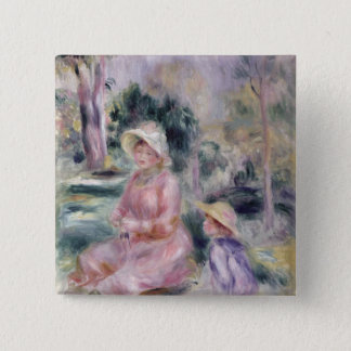 Pierre A Renoir | Madame Renoir and her son Pierre 2 Inch Square Button