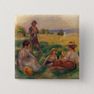 Pierre A Renoir | Party in the Country at Berneval 2 Inch Square Button