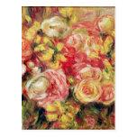 Pierre A Renoir   Roses Postcard